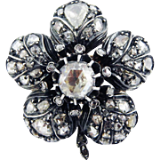 SALE BRILLIANT Victorian 3.39 Ct TW Rose-Cut Diamond/18k/Sterling Flower Brooch, c ...