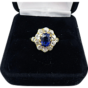 SALE MAGNIFICENT 1.97 Ct. TW Untreated Color Change Sapphire/OMC Diamond/18k Ring w ...