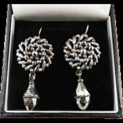 SALE SPARKLING Georgian Cut Steel Drop Earrings, c.1810!