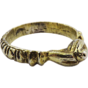SALE MEDIEVAL Silver Gilt Fede Posy Ring, Hands Holding Pomegranate, c.1300 AD!