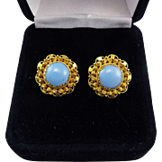 SALE ENCHANTING Regency-Era Turquoise Paste/18k Cannetille Earrings, c.1815!