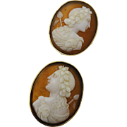 SALE BEST QUALITY Victorian Shell Cameo Earrings of Bacchus in 14k Gold, c.1860!