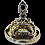 SALE MUSEUM-QUALITY XL George II Sterling/Silver Gilt Fob Seal w/Rock Crystal Intaglio ...