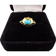 SALE MUSEUM-WORTHY Medieval Turquoise/22kt Amuletic Ring, c.1325 AD!