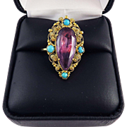 SALE SO REGAL 8.72 Ct. Georgian Amethyst/Persian Turquoise/15k Cannetille Ring, c.1815!