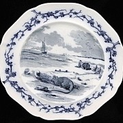 SALE Mulberry Transferware Fables Plate ~ RAT & OYSTER  1880