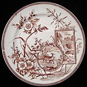 English Victorian Brown Plate ~ DEER 1880
