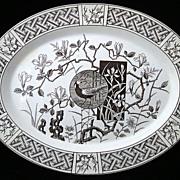 SALE Victorian Brown Transferware Platter ~ Pheasant 1880