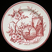 English Victorian Red Transfer Plate ~ DEER 1880