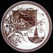 SALE Brown Transferware Plate ~ LION of LUCERNE 1884