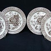 SALE 4 Staffordshire Victorian Plates ~ PHEASANTS 1880