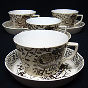 SALE Four Staffordshire Brown Transfer Coffee C & S ~ PHEASANT 1880