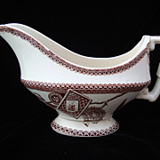 SALE English Brown Transferware Sauce Boat ~ LOUISE 1885