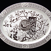 "SALE Large Aesthetic 19"" Brown Transfer Platter ~ Pheasant 1880"