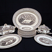SALE Brown Transferware Dinner Service for Six ~ CANTERBURY 1883