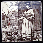 SALE William Wise Country Life Tile Trivet ~ Feeding Chickens 1882