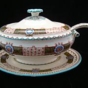 SALE Huge Passion Flower English Soup Tureen, Platter & Ladle 1880