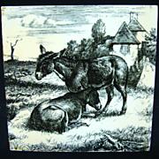 SALE William Wise Transfer Printed Minton Tile ~ Burro 1879