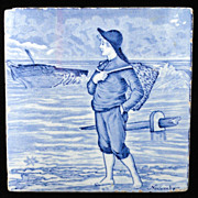 SALE Tile ~ Wedgwood Month Series NOVEMBER Helen Miles 1879