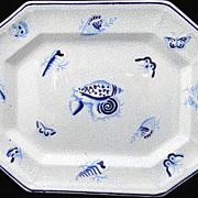 SALE Blue English Ironstone Platter ~ SEASHELLS 1860