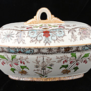 Brown Transferware Polychrome English Tureen~ 1890