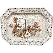 SALE Huge English Ironstone Brown Transferware Platter ~ Devonshire 1884
