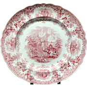 SALE Hannibal Passing the Alps Red Transferware Plate ~ 1830