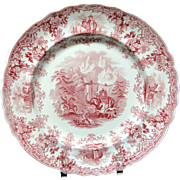 SALE Superb Hannibal Passing the Alps Red Transferware Plate ~ 1830