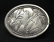 Victorian Antique Sterling Silver Brooch Pin ~ 1885