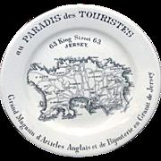 SALE Rare Ironstone Transferware MAP PLATE Jersey Channel Islands c1880