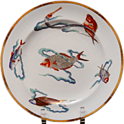 SALE Royal Worcester Polychrome Plate ~ Rare Fish 1877
