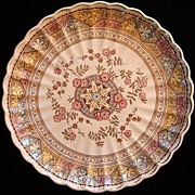 """SALE Brown Aesthetic Transferware 12"""" Round Serving Plate ~ PUZZLE 1885"""