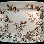 Brown Transferware Platter ~ Hydrangeas 1885