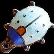SALE Vintage Light Blue Enamel Ladybug Ladybird Silver Charm