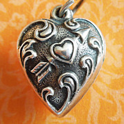 SALE Vintage Cupid's Arrow Extra Puffy Heart Sterling Silver Charm ~ Hand-engraved LOIS