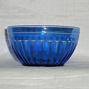 "SOLD Hazel Atlas Aurora Pattern Cobalt Blue 4.5"" Wide & 2-3/8"" Deep Bowl"