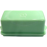 McKee Circa 1930's Jadite 1-1/4 Pound Covered Butter