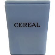 Jeannette Glass Delphite Blue 29 Ounce Square Cereal Canister