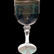 Tiffin Killarney Green Melrose Gold Etched Water Goblet