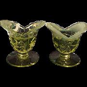 Duncan & Miller No. 122 Sylvan Jasmine Yellow Opalescent Candleholders