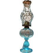 Fostoria Coin Pattern No. 1372 Azure Blue Tall Patio Oil Lamp