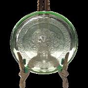 Federal Glass Co. Green Georgian Lovebirds Hot Dish Coaster