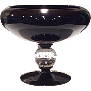 Pairpoint Black Amethyst Cupped Compote with Bubble Ball Stem