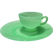 Fenton Art Glass Jade Green Snack Set (Cup & Saucer with side indent)