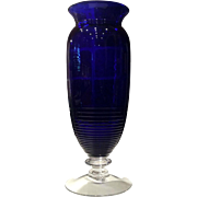 "Cambridge Glass Cobalt Blue #1402/79 - 12"" (H) Footed Tally Ho Vase"