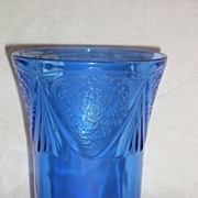 "Hazel Atlas Glass Cobalt Blue Royal Lace 4"" Tumbler"