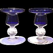"Morgantown #7643 Ritz Blue (Cobalt) Jacobi 4"" Candleholders (Two)"