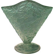 "Consolidated Green Washed Bird of Paradise 6-1/2"" Fan Vase"