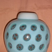 Fenton Blue Opalescent Coin Dot Rose Jar with Cover