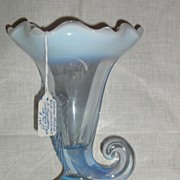 Duncan Miller Blue Opalescent Three Feathers Cornucopia Vase